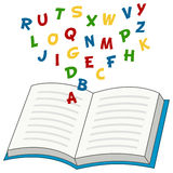 Cartoon Open Book with Alphabet Letters Stock Photography