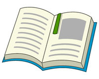 Cartoon Open Book with Bookmark Icon Stock Image