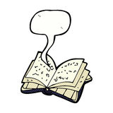 Cartoon open book with speech bubble Stock Photos