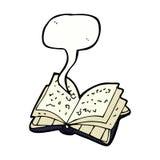 Cartoon open book with speech bubble stock illustration