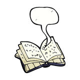 Cartoon open book with speech bubble royalty free illustration