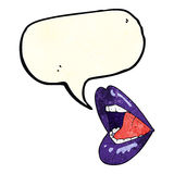 Cartoon open mouth with speech bubble Royalty Free Stock Image