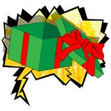 Cartoon opened gift box on comic book background. royalty free illustration
