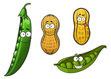 Cartoon opened green pea pods and peanuts in Stock Photos