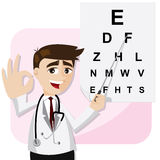 Cartoon ophthalmologist with chart testing eyesight Royalty Free Stock Image