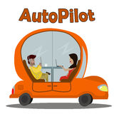 A Cartoon Orange Car Moving Without a Driver. Stock Photos