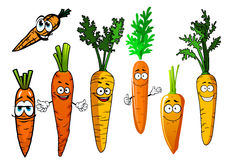Cartoon  orange carrot vegetables. Funny orange carrot vegetables cartoon characters with curly green leaves and smiling faces, for agriculture harvest and Stock Photo