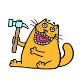 Cartoon orange cat holds a hammer. Vector illustration. royalty free stock photos
