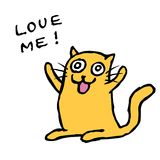 Cartoon orange cat is waiting for embrace and love. Isolated vector illustration. Stock Images