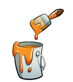 Cartoon orange color paint in a paint bucket painting with paint. Cartoon orange color paint in a grey paint bucket , painting with a brown paint brush Royalty Free Stock Images