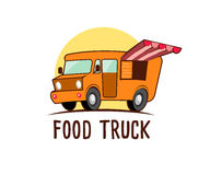 Cartoon orange food truck car. Vector illustration.  Royalty Free Stock Photography