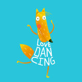 Cartoon orange fox in dress text Love Dancing Stock Photography