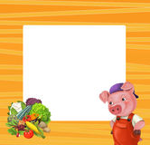 Cartoon orange frame for different usage with space for text. Happy and funny traditional illustration for children - scene for different usage royalty free illustration