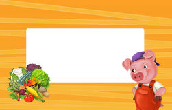 Cartoon orange frame for different usage with space for text. Happy and funny traditional illustration for children - scene for different usage stock illustration