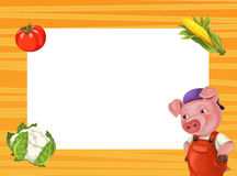 Cartoon orange frame for different usage with space for text. Happy and funny traditional illustration for children - scene for different usage vector illustration