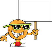 Cartoon orange holding a sign. Royalty Free Stock Images