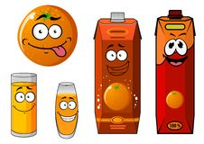 Cartoon orange and juice characters Stock Photography
