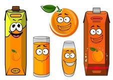 Cartoon orange juice packs with fruit Stock Image