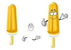 Cartoon orange popsicle on wooden stick Royalty Free Stock Photo