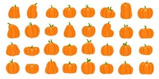 Cartoon orange pumpkin. Halloween october holiday decorative pumpkins. Yellow gourd, healthy squash vegetable vector. Cartoon orange pumpkin. Halloween october stock illustration