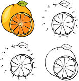 Cartoon orange. Vector illustration. Coloring and dot to dot gam Royalty Free Stock Photo