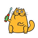 Cartoon orange cat holds a screwdriver. Vector illustration. stock photos