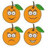 Cartoon oranges with emotions. Set of four illustrations Royalty Free Stock Image