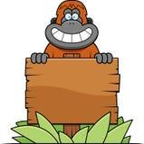 Cartoon Orangutan Sign Stock Image