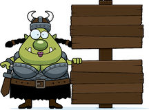 Cartoon Orc Wood Sign Stock Images