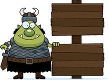 Cartoon Orc Wood Sign Royalty Free Stock Photo