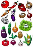Cartoon organic farm vegetables characters Stock Photography