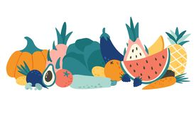 Cartoon organic food. Vegetables and fruits, natural fruit and vegetable products vector illustration stock illustration