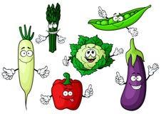 Cartoon organic garden vegetables characters Stock Photography