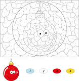 Cartoon ornament ball. Color by number educational game for kids Royalty Free Stock Photo