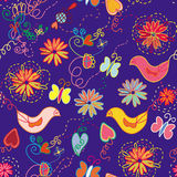 Cartoon ornate floral seamless pattern. With birds and butterfly royalty free illustration