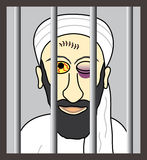 Cartoon Osama bin Laden behind bars. Illustrated terrorist Osama bin Laden behind bars Stock Photography