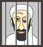 Cartoon Osama bin Laden behind bars. Illustrated terrorist Osama bin Laden behind bars Vector Illustration