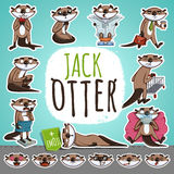 Cartoon Otter Character. Emoticon Stickers. With Different Emotions. Vector Illustration Stock Image