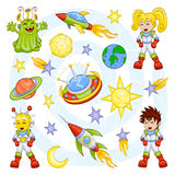 Cartoon outer space set Royalty Free Stock Photos