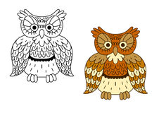 Cartoon outline brown owl bird Royalty Free Stock Image