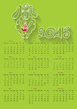 Cartoon outline  sheep.Calendar 2015 Year of Sheep Royalty Free Stock Images