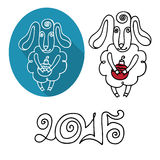 Cartoon outline sheep set.Symbol 2015 Year. 2015 Year of Sheep. Cartoon outline sheep with christms toy.Sheep set with figures 2015.White and black silhouette vector illustration