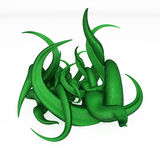 Cartoon Overgrowth. Green 3d vine plant model, over white Royalty Free Stock Images