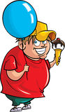 Cartoon overweight boy with balloon and ice cream. Isolated Royalty Free Stock Images
