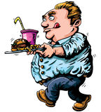 Cartoon of overweight man with fast Stock Images