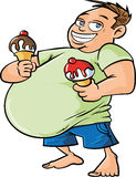 Cartoon overweight man holding two ice creams Royalty Free Stock Photography