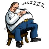 Cartoon of overweight man sleeping Royalty Free Stock Photo