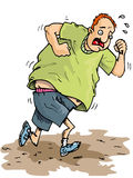 Cartoon of overweight runner Royalty Free Stock Image