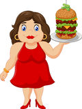 Cartoon overweight woman holding fast food Royalty Free Stock Photo