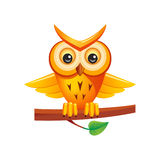 Cartoon owl. Cute cartoon owl sitting on the branch Royalty Free Stock Image